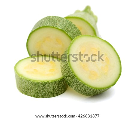 Slices of marrow zucchini isolated on white background - stock photo