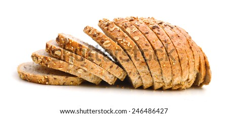 slices of multigrain bread, isolated on white background  - stock photo