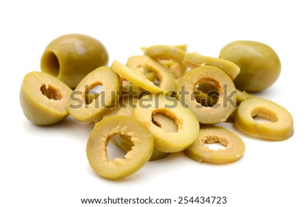 slices of olive isolated on white - stock photo