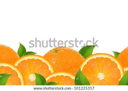 Slices Of Orange Border, Isolated On White Background - stock photo