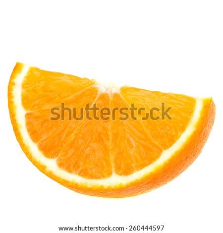 Slices of orange Isolated on white  - stock photo
