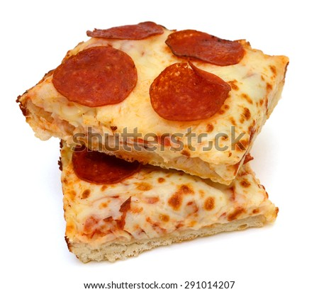 slices of pepperoni slices on white background  - stock photo