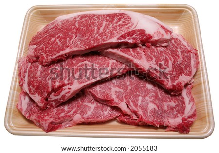 slices of raw beef - stock photo