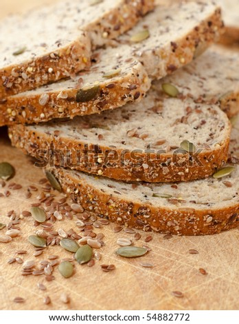 Slices of Seed Whole Grain Bread - stock photo