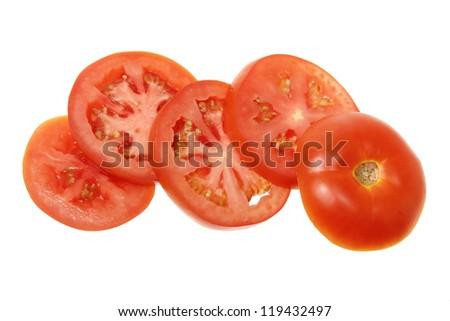 Slices of Tomato on White Background - stock photo