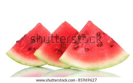 slices of watermelon isolated on white - stock photo