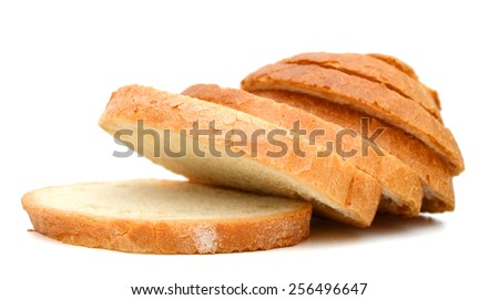 slices of white bread isolated on white  - stock photo