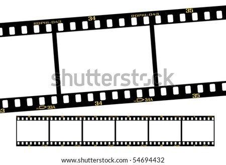 slide film or transparency strips, accurate dimension and details. - stock photo