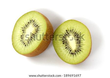 Slide of Kiwi fruit isolated on white background - stock photo