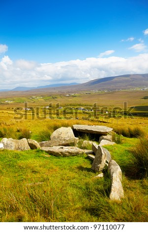 Slievemore dolmen in summer season on Achill Island, Ireland. - stock photo