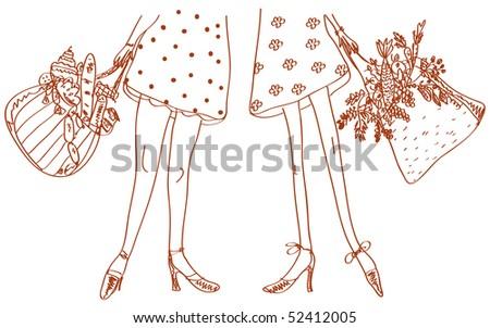 Slim and fat women - stock photo