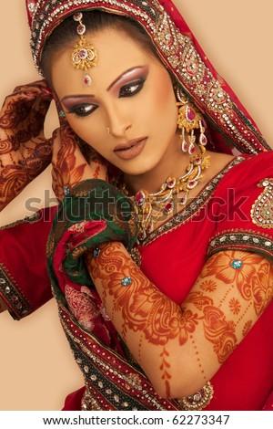 Slim beautiful woman wearing luxurious wedding dress - stock photo