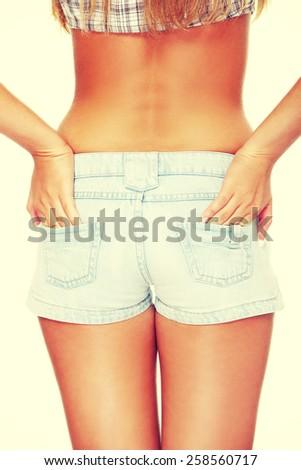 Slim caucasian woman in short trousers. - stock photo