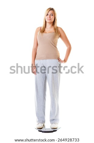 Slim down concept. Woman plus size large girl on scales controlling her weight , studio shot isolated on white - stock photo