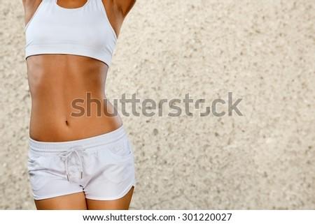 Slim, fitness, workout. - stock photo