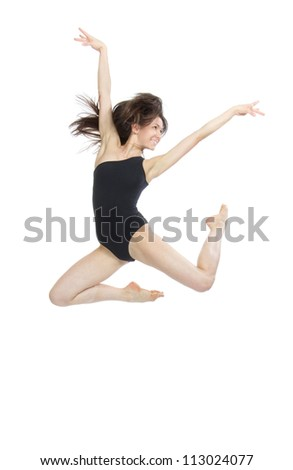 slim jazz modern contemporary style woman ballet dancer jumping isolated on a white studio background - stock photo