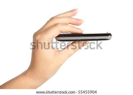Slim mobile phone in the women's hand isolated on white background - stock photo