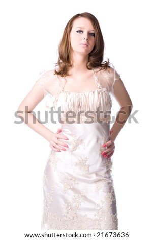 Slim woman in silver dress. Isolated on white. - stock photo