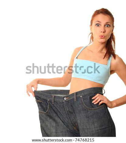 slim young woman on white - stock photo