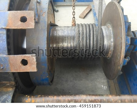 Sling in roll of crane for piling work. - stock photo