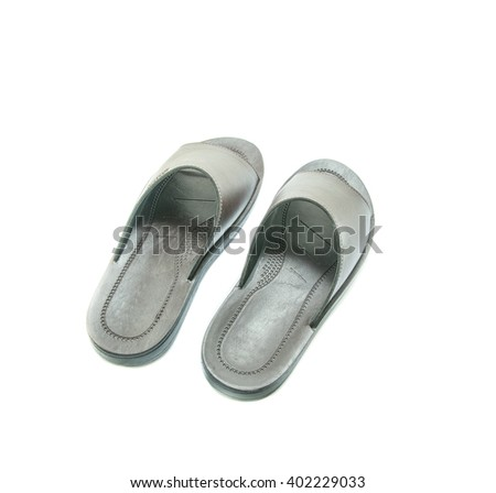 slippers leather on white background - stock photo