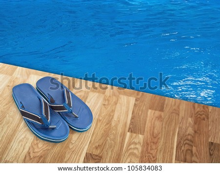 Slippers near the pool - stock photo
