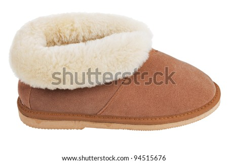 Slippers of wool on the rubber soles on a white background - stock photo