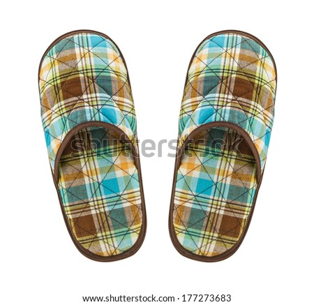 Slippers top view isolated on white background - stock photo