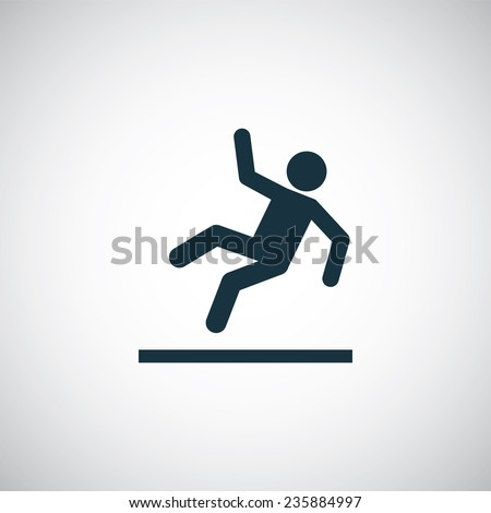slippery floor icon on white background  - stock photo