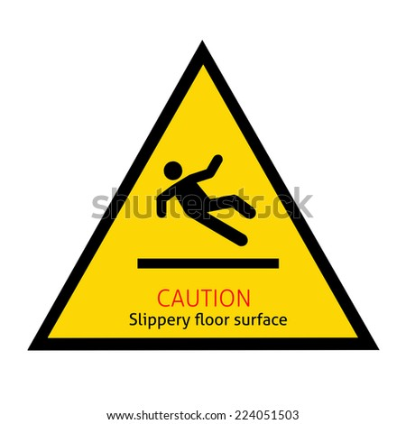 Slippery floor surface sign with clipping path - stock photo