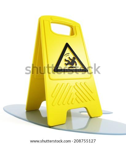 Slippery floor warning on white background - stock photo