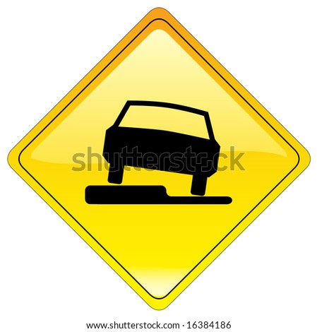 Slippery road warning sign (us style) - stock photo
