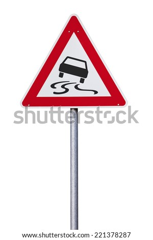 Slippery road warning Traffic sign isolated with clipping path - stock photo