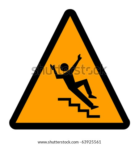 Slippery warning sign - stock photo