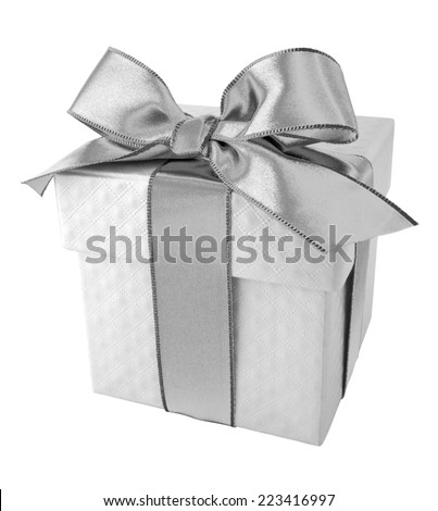 Sliver Ribbon with White Gift Box on white background - stock photo