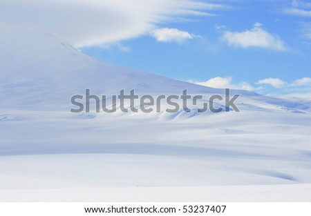 Slope of Mount Erebus, Antarctica - stock photo
