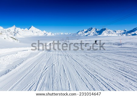Slope on the skiing resort. Zermatt - stock photo