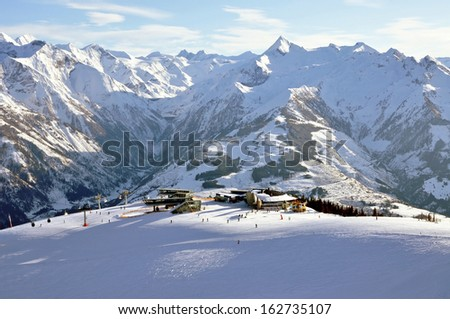 Slopes in Zell am See ski resort in the Austrian Alps - stock photo