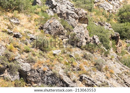 slopes of the mountains in Kazakhstan - stock photo