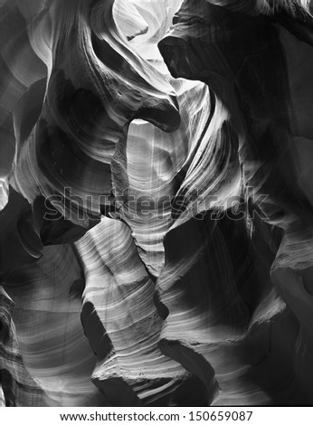Slot Canyon Black and White - stock photo