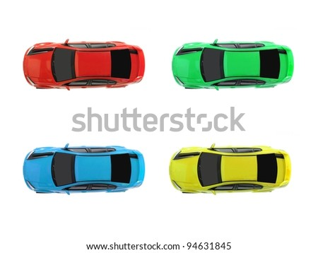 Slot cars isolated on a white background - stock photo