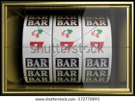 Slot fruit machine with 777 and cherries winning - stock photo