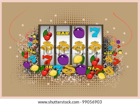 Slot machine background with space (poster, web, leaflet, magazine) - stock photo