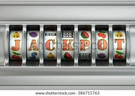 Slot machine with jackpot. Casino concept. 3d - stock photo