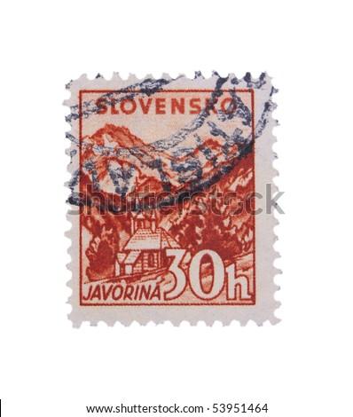 SLOVAKIA - CIRCA 1943: A stamp printed in Slovakia showing Javorina circa 1943 - stock photo