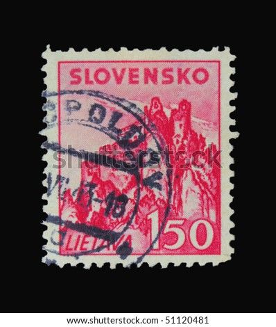 SLOVAKIA - CIRCA 1943: A stamp printed in Slovakia showing Lietava, circa 1943 - stock photo