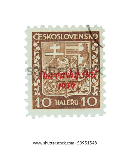 SLOVAKIA - CIRCA 1939: A stamp printed in Slovakia showing national sign circa 1939 - stock photo