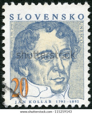 SLOVAKIA - CIRCA 1993: A stamp printed in Slovakia shows Jan Kollar (1793-1852), writer, circa 1993 - stock photo