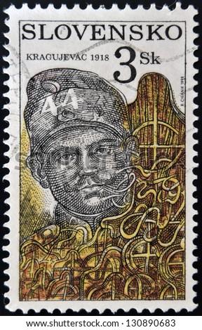 SLOVAKIA - CIRCA 1998: A stamp printed in Slovakia shows Kragujevac, circa 1998 - stock photo