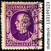SLOVAKIA - CIRCA 1939: A stamp printed in Slovakia shows portrait of Andrej Hlinka (1864-1938) was a Slovak politician and Catholic priest, circa 1939 - stock photo